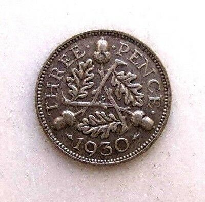Great Britain Uk Coins, Threepence 1930, George V, Silver 0.500