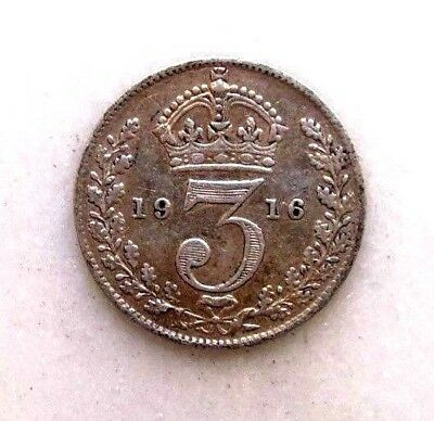 Great Britain Uk Coins, Threepence 1916, George V, Silver 0.925 ..