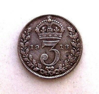 Great Britain Uk Coins, Threepence 1913, George V, Silver 0.925 ..