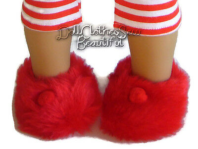 Red Fuzzy Button Slippers 18 in Doll Clothes Fits American Girl
