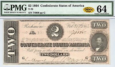 T-70 PF-5 $2 Confederate Paper Money 1864 - PMG Choice Unc 64 - CHOICE - Gold!!