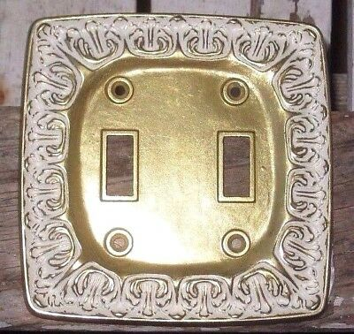 Vintage Brass Tone Electric Wall Double Switch Plate Cover Hollywood Regency