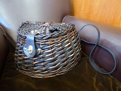 Woven wicker Fishing Basket, hinged lid, buckled adjustable strap fastening NEW