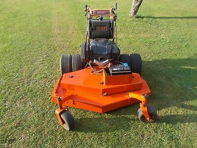 Scag electric start Banks Mower for incline work stored in my Tractor Shed.