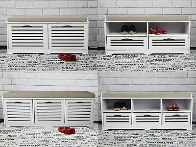 FoxHunter Shoe Storage Bench With Drawers Padded Seat Stool Cabinet MDF White