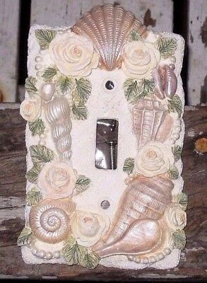 Vintage Ceramic Seashell Electric Wall Single Switch Plate Cover Ocean Spa Motif