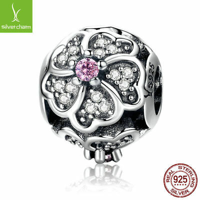 925 Silver Rose Bouquet Flower Of Love Pink Crystal CZ Beads Fit sterling chain