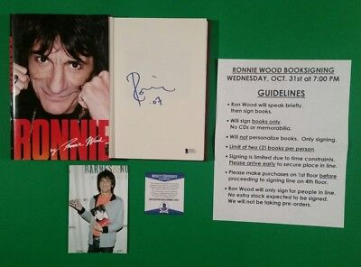 Ronnie By Ron Wood Signed Autobiography Book With Flyer & Photo Proof & Bas Coa