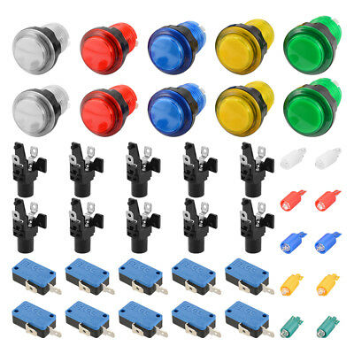 10pcs LED Illuminated Push Buttons Micro Switch for Arcade Machine Games AC893