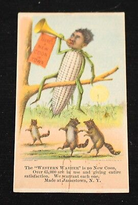 Black boy blowing horn: There's a new Coon in Town. Washing machine Trade Card.