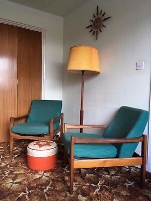 Set of two Mid century teak Danish Style Lounge armchairs Harris Tweed