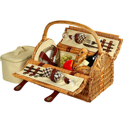 Picnic at Ascot Sussex Willow Picnic Basket with Outdoor Accessorie NEW