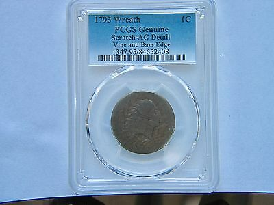 1793 Wreath Vine And Bars Flowing Hair Large Cent PCGS AG Details