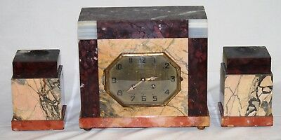 Antique Art Deco  Mantle Clock with Garniture French Movement for Restoration