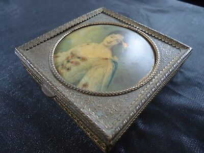 Antique Miniature Portrait Gilt / Brass Box