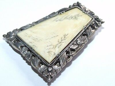 Beautiful, Scarce c1890 Fully Signed SUNG Chinese Solid Silver Brooch / Clip