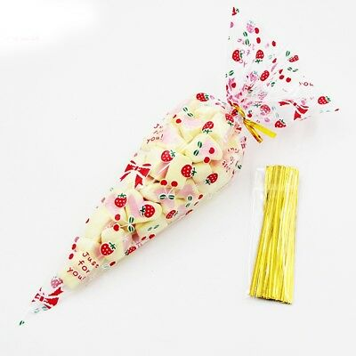 50 X Party Bags Clear cone Clear bags cello cellophane sweet candy display kids