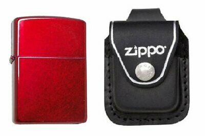 Zippo Candy Apple Red Lighter and Black Leather Loop Pouch Bundle #21063-LPLBK
