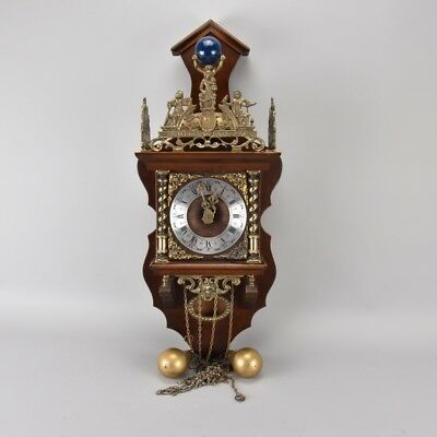v2t35- Wanduhr, Messing und Holz, Holland, 20.Jh.