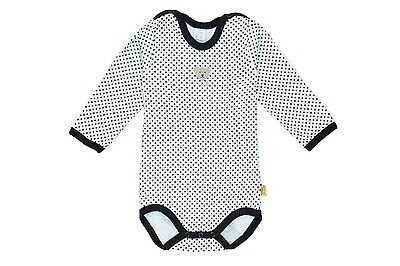 Steiff Newborn Classic Body Suit Jersey White/Blue Dots Size 56 - 104 NEW