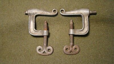 "Vintage Antique Cast Thumb Screw ""C"" Clamp Style Hook Bracket Set of Two Used"
