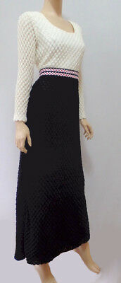 True Vintage Boho Chic Mod 60s 70s Black White Red Crochet Maxi Dress S