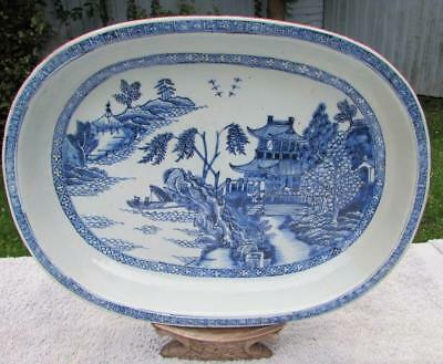 Large Antique Chinese Blue & White Platter Serving Dish