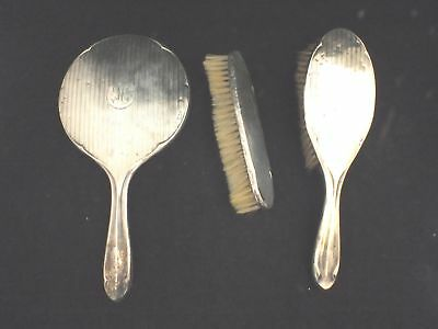 Vintage Sterling SILVER Mirror & Brushes Set Charles S Green & Co Ltd - E32