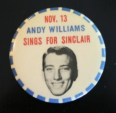 "1959 Sinclair Oil ""Andy Williams Sings For Sinclair"" Celluloid Pinback Button"