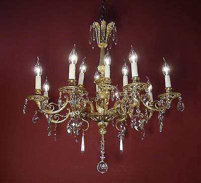 Rare Ornaments Bright Gold Bronze Crystal Chandelier Dragon