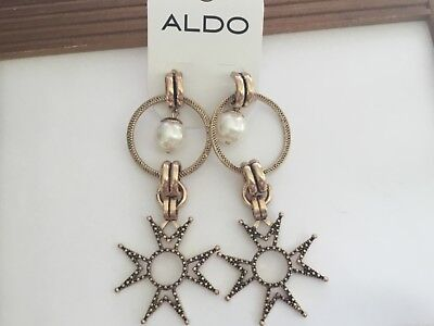 Aldo  Gold Tone  Dangling Hoops & Maltese Cross Earrings