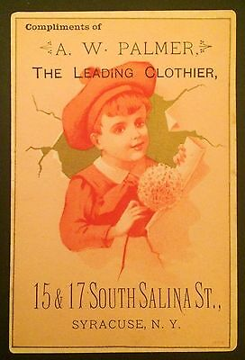 Vintage Trade Card; A. W. Palmer, The Leading Clothier, Syracuse, New York