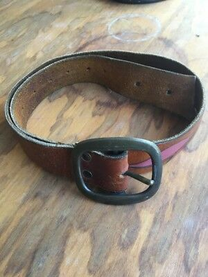 Vtintage Distressed Leather Tooled MUSHROOMS Groovy Hippie Belt 29 to 37