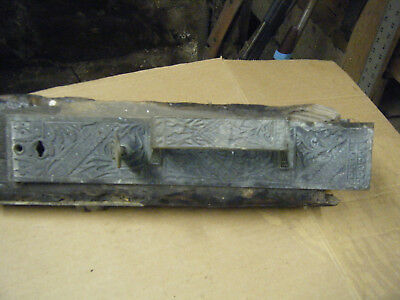 huge old antique vintage Eastlake victorian door latch - church /store /bank or