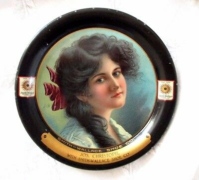 """C.1900-Smith Wallace Shoe Co- Tip Tray-Victorian Lady Portrait-4.25""""-Vgc"""