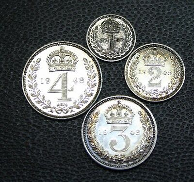 British 1948 UNCIRCULATED LUSTROUS Maundy PROOF Set 4 X Silver UK  English Coins