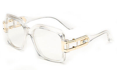 Clear Lens Square Retro Clear Frame Sun Glasses Gold Metal Accents dmc Square