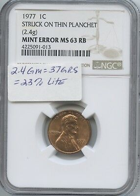 1977 1¢ Struck On Rolled Thin Plan. Ngc-Ms-63 Rb
