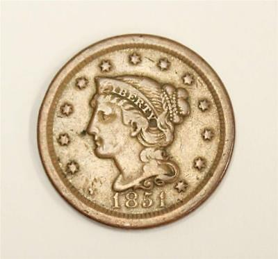 1851 Braided Hair Large Cent USA VF30 original patina and problem free
