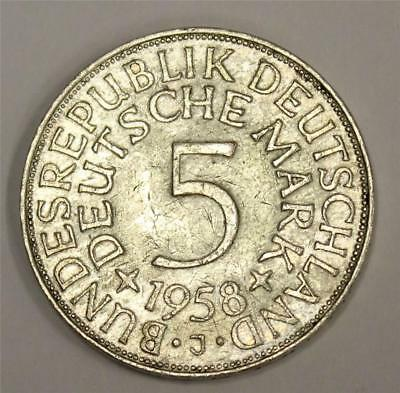 1958J Germany 5 Mark key date silver coin KM112.1 VF30 original & problem free