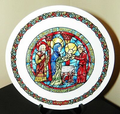 Darceau~Limoges Noel Vitrail~Stained Glass Christmas Plate #4~The Purification