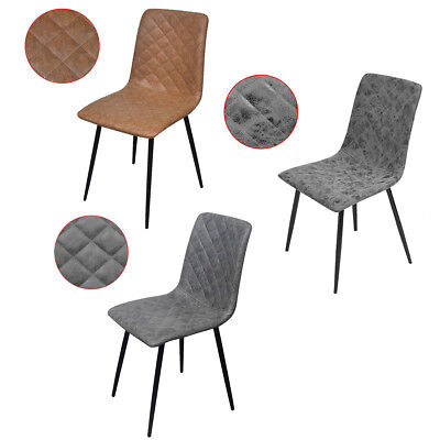 vidaXL 2/4/6PC Grey/Brown/Black PU Leather Dining Chair Kitchen Living Room Cafe
