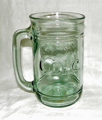 2 Vintage Coca Cola Coke Green Indiana Glass Mugs with Handles 16 oz