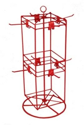 """Counter Spinner Display Rack - 4 Sided 8 Peg 6"""" x 6""""  (Red)"""