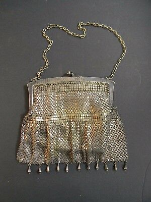 ANTIQUE ART DECO GERMAN SILVER MESH EVENING BAG with KID LEATHER INTERIOR