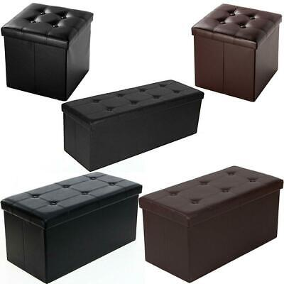 New Faux Leather Storage Footstool Sofa Ottoman Bench Folding Footrest Box Seat