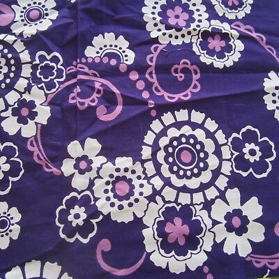 56Cm X 45Cm Vintage Cotton Fabric 1960S Retro Purple Stylised Floral
