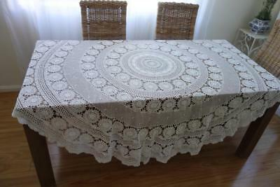 Huge White Lace Hand Crochet Circular Round Table Cloth 210cm daimater