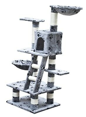 Cat Tree 122 Pet Scratcher Post Poles House Gym Condo Furniture Scratching Grey
