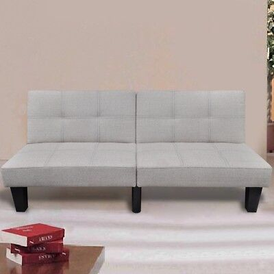 Modern Beige Fabric Sofa Bed 3 Seater Lounge Suite Couch Chaise Recliner Seat